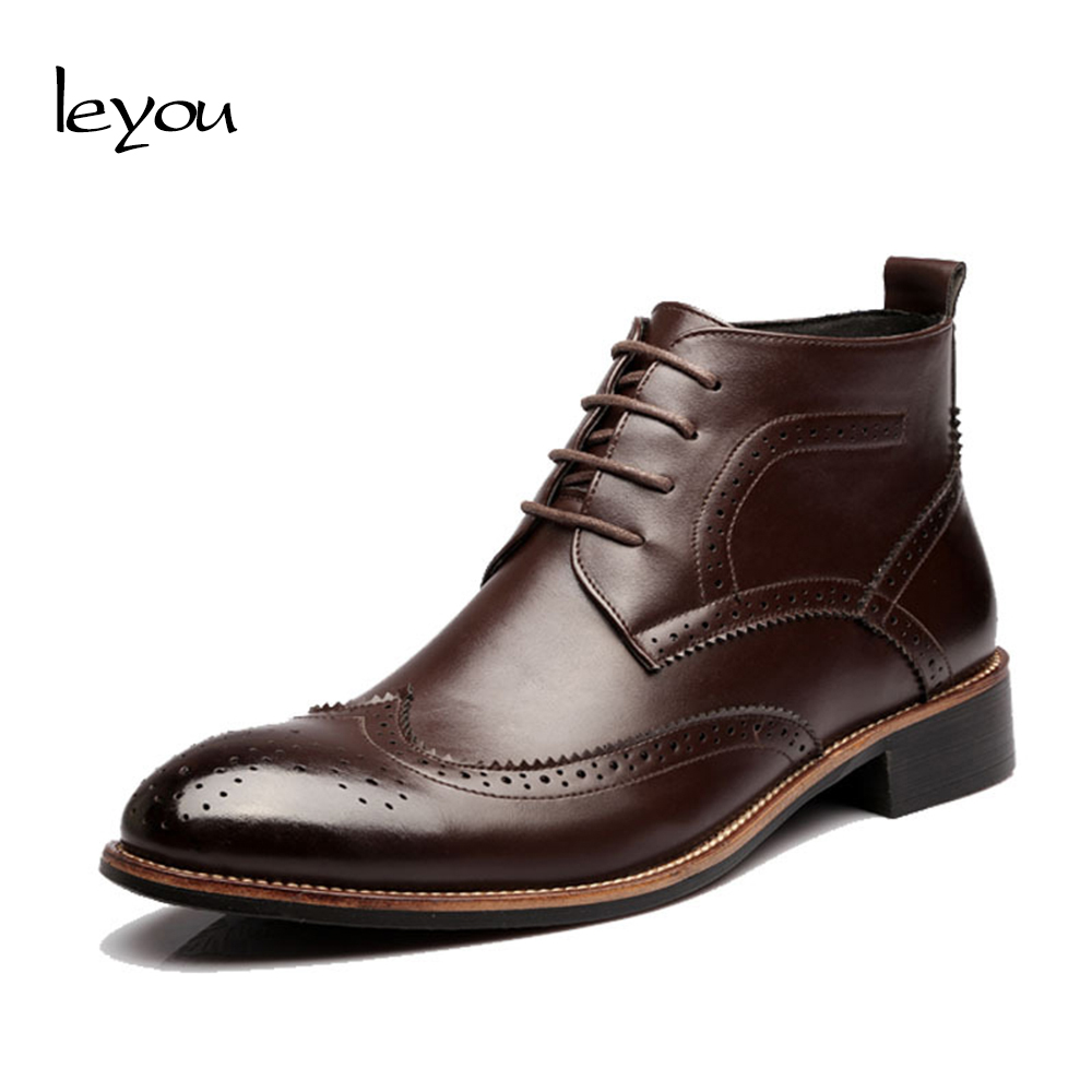 Leyou Boots Male Shoes Adult Kanye West Shoes Boots Leather British Shoe Men Leather Boots Pointed Toe Shoes for Men Botte Homme Обувь