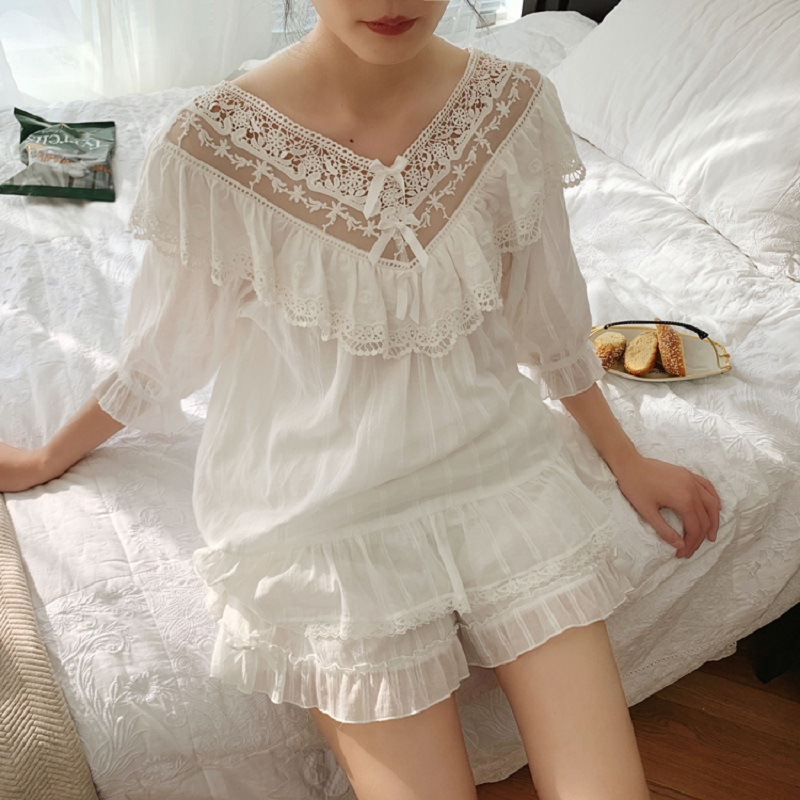 Summer Women's Soft Cotton Pajamas Sets White Lace Shorts Pajamas Vintage Long Sleeve Sleepwear Autumn Nightwear Home Clothes