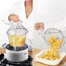 Kitchen Foldable Steam Rinse Strain Fry Chef Basket Strainer Net Kitchen Cooking Tool #52053