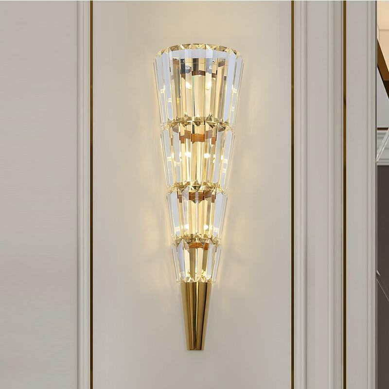 Image 3 - Golden modern wall lamp crystal light luxury Nordic living room decoration hotel LED lightsLED Indoor Wall Lamps   -