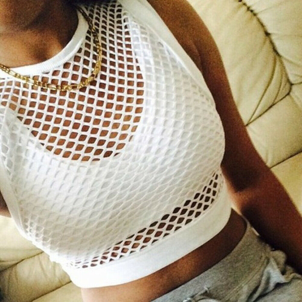 Sexy Woemn Crochet Fishnet Cover-Ups Crop Top Ladies Summer Boho Tank Clothing Beach Wear Hollow Out Top Bathing Suit
