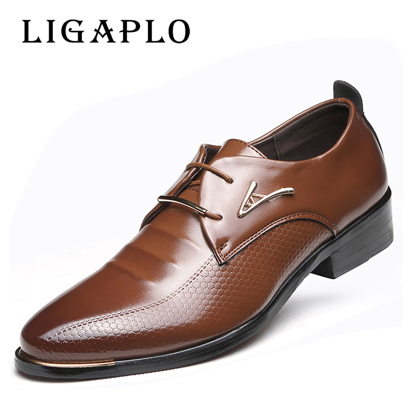 HOT Big 38 -46 2017 Men Leather Shoes Male Lace-up Pointed Toe WaterProof Fashion Soft Summer Breathable Wedding Business