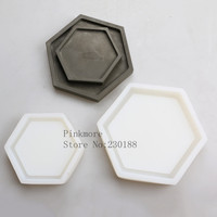 Silicone Pallet Mold Hexagon Cement Plate Cup Fruit Plates Concrete Dish Handmade Mold Concrete Tray Moulds
