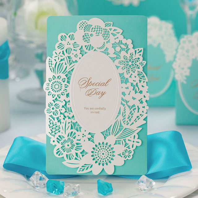 Aliexpress Buy 1Pcs Light Green Floral Cut out Wedding – Making Invitation Cards
