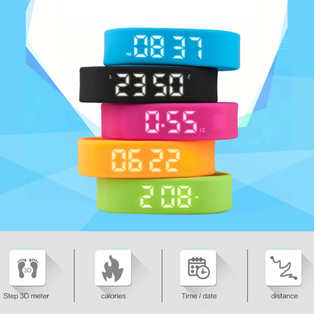 3D T5 LED Display Sports Gauge Fitness Bracelet Smart Step Tracker Pedometer smart band Wristband PK