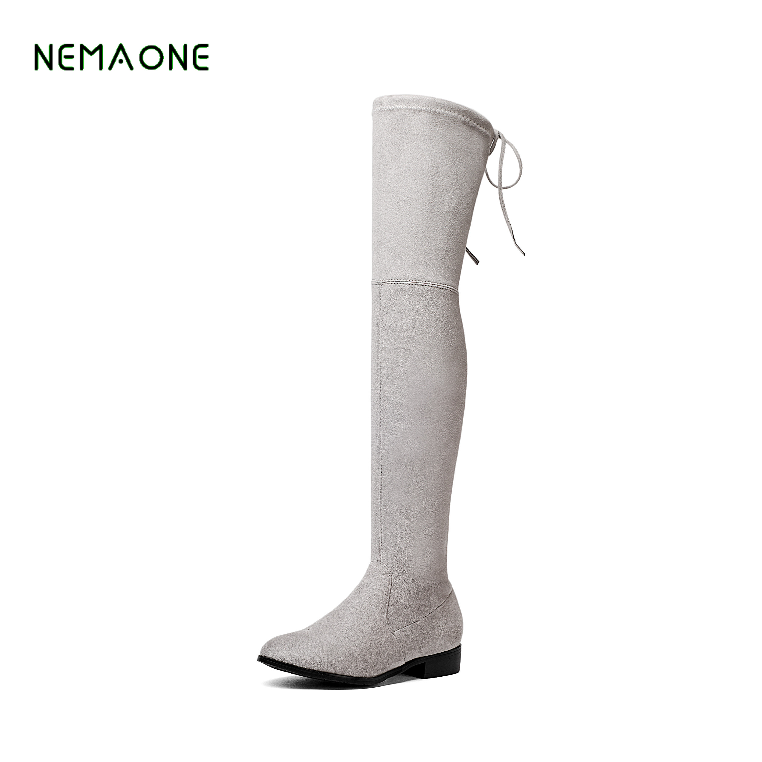 NEMAONE Stretch Thigh High Faux Suede Over the Knee Boots Sexy square heel Boots Large Size 34-43 Slip-on Shoes fashion boots