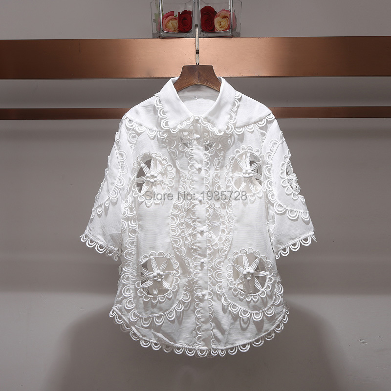 e216e167 2018SS Runway Fashion Woman White Oversized WHITEWAVE DOILY SHIRT button up  Hand crafted rouleau trim Cut Out Embroidered TOP-in Blouses & Shirts from  ...