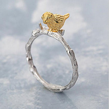 Hot Popular Personality Creative Fashion Jewelry Plated Branches Bird Opening 925 Silver Ring      SR36