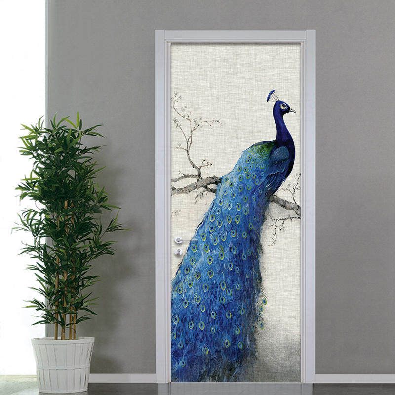 Chinese Style Blue Peacock Mural Wallpaper Modern Living Room Bedroom Door Wall Mural Sticker PVC Waterproof Vinyl 3D Home Decor