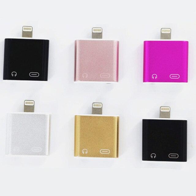 2 em 1 para lightning0 + 3.5mm jack adaptador de fone de ouvido para iphone 7/7 plus fone de ouvido aux adaptador de carregamento e ouvir música
