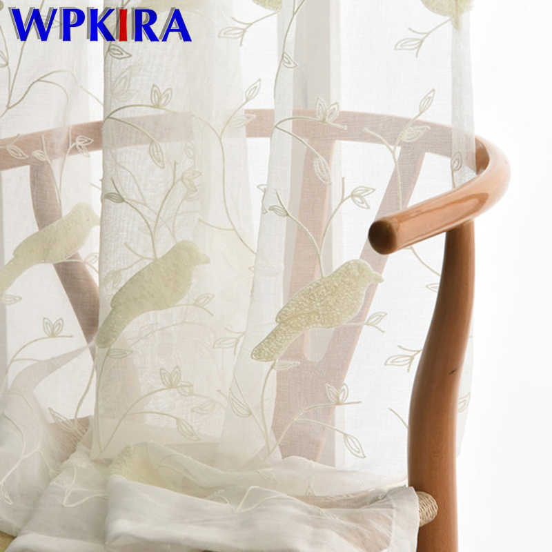 American Pastoral White Blue Pink Curtains Embroidered Bird Patterned Study Sitting Living Room Curtains Sheer Tulle WP004-30