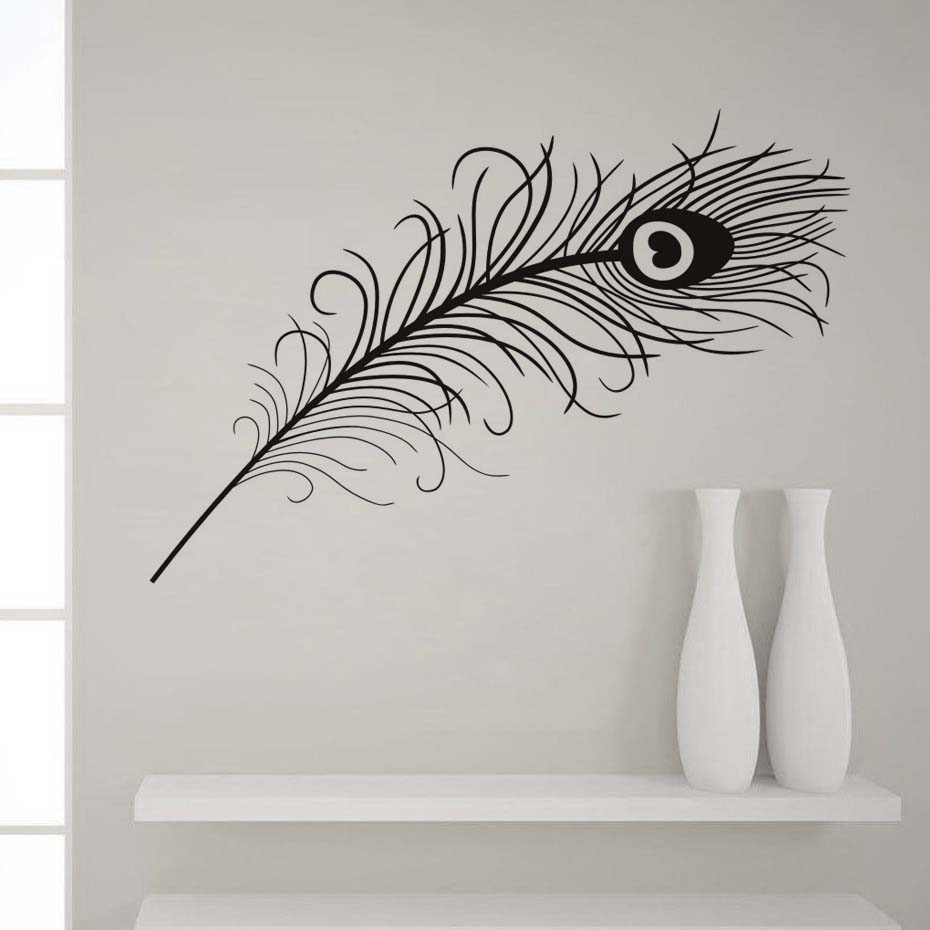 Animals Peacock Feathers Wall Stickers Black And White