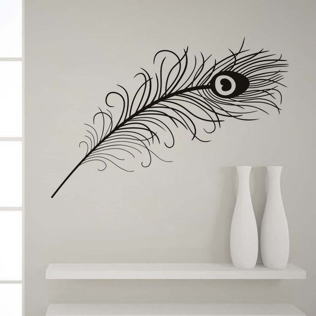 animals peacock feathers wall stickers black and white vivid wall