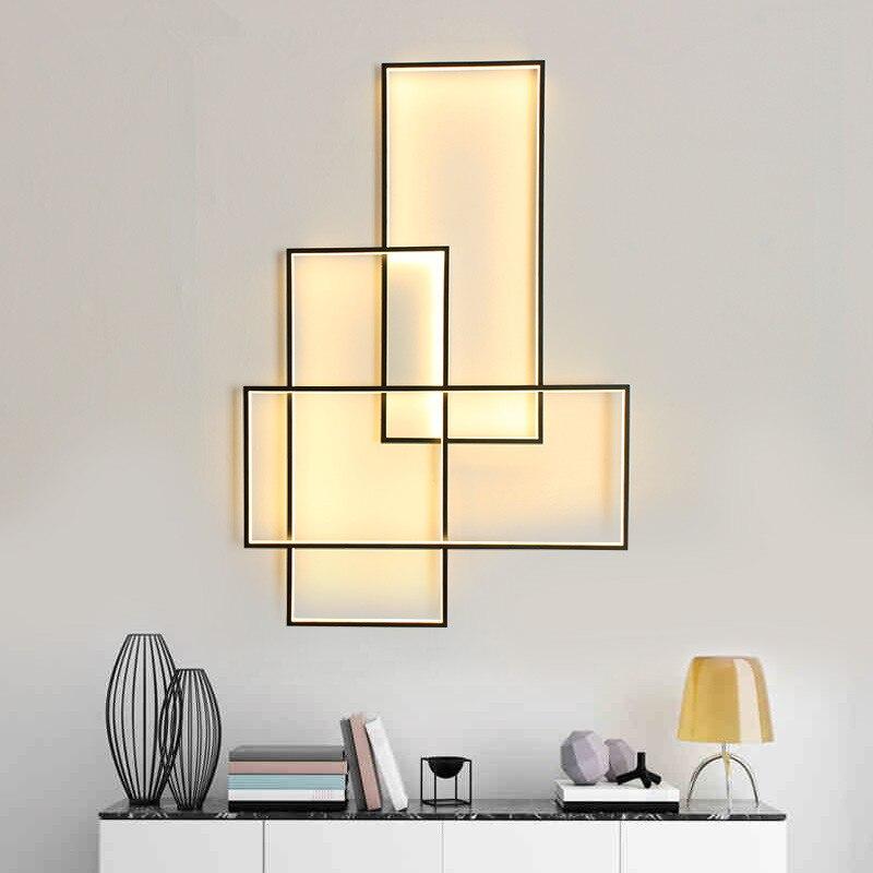 Livraison gratuite mur LED lampe appliques murales Designer éclairage Rectangle Aluminium salon salon escaliers applique murale