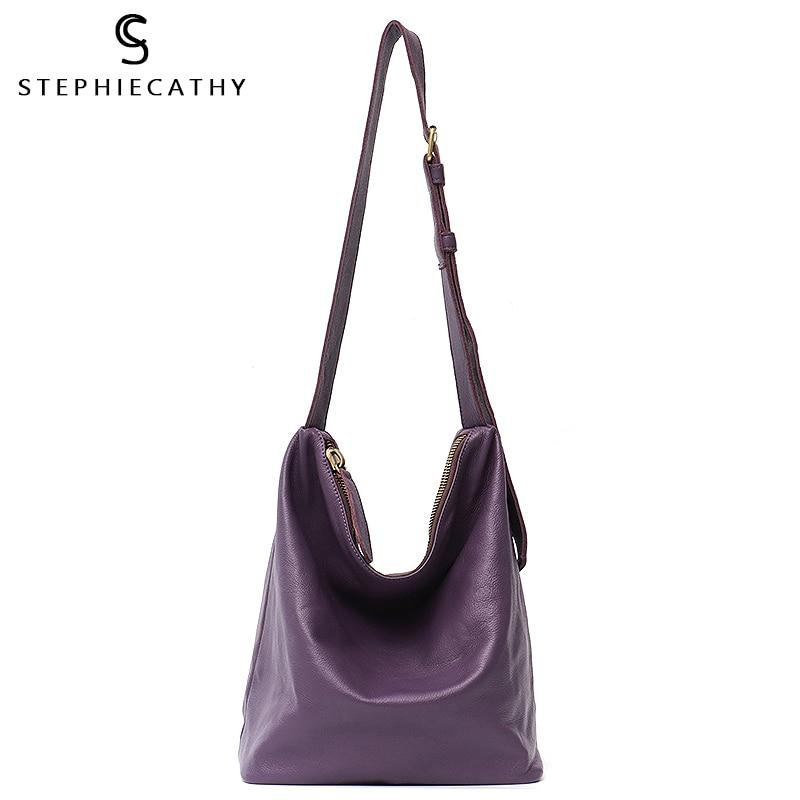 SC Women Leather Handbags Vintage Luxury Genuine Leather Bag Large Hobo Solid Long Strap Big Cross