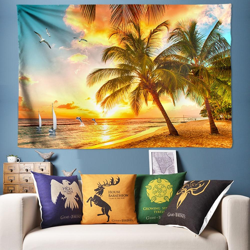Summer Decorative Tapestry Wall Hanging Coconut Palm Tree Beach Mandala Wall Tapestry Art Tenture Tapisserie Hippie Tapesties image
