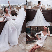 Vintage White Short Lace Wedding Dresses With Detachable Train 2019 robe de mariee Beach casamento 3/4 Sleeves Bridal Gowns