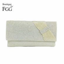 Boutique De FGG Dazzling Crystal Silver Bow Evening Purse Indian Handmade Beading Clutch Wedding Prom Bag Bridal Beading Handbag boutique de fgg vintage gunmetal chinese style women silver beaded purse metal frame evening wedding party handbag clutch bag
