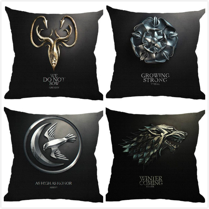 New Game of Thrones cool black Printed Cushion Cover linen pillow cover chair sofa bed car room Home Dec wholesale FG732