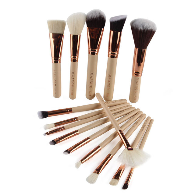 15 pcs/Set Skin Care Personal Care Cosmetic Kits Tools Rose Gold Makeup Brushes