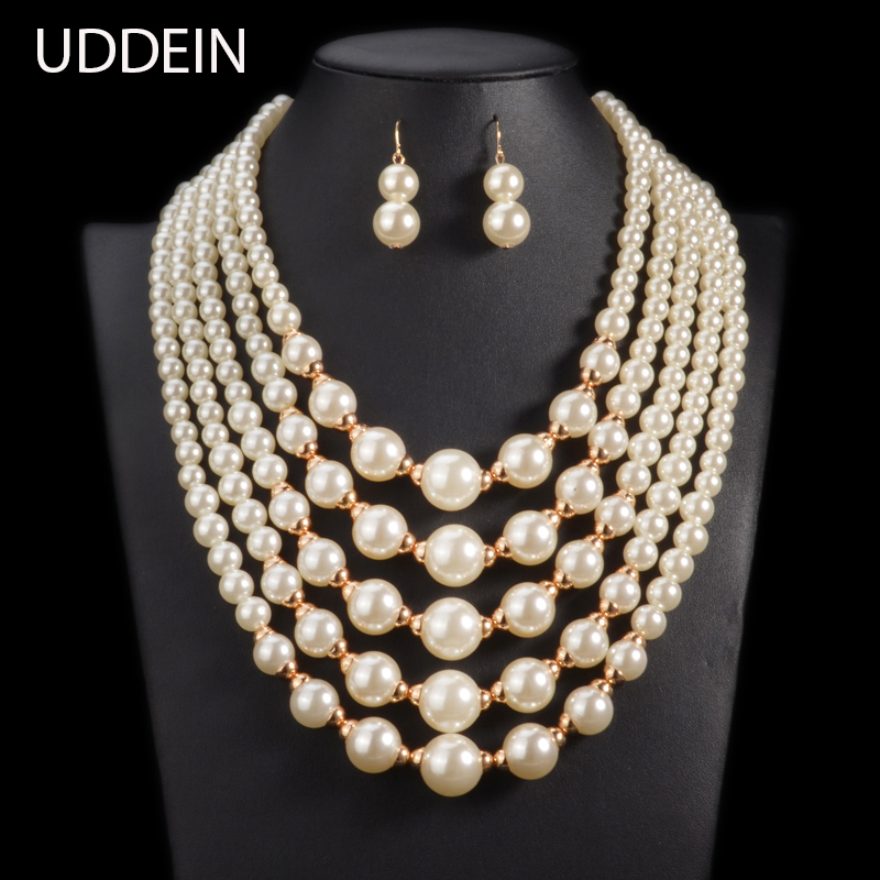 цена на UDDEIN simulated pearl African Beads Jewelry Set 2017 wedding fashion statement choker necklace for women Online Shipping India