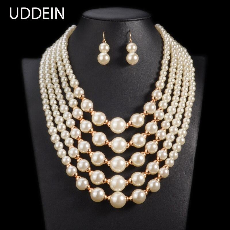 UDDEIN simulato pearl Beads Africani Jewelry Set 2017 moda nuziale dichiarazione girocollo collana per le donne Online Libero India
