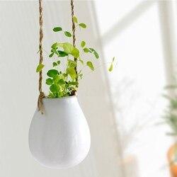 1PC Home Garden balkon ceramiczna wisząca donica makrama roślina kwiat wazon do garnka z sznurkiem kryty dekoracja zewnętrzna