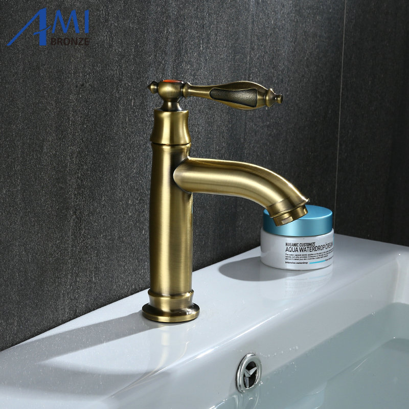 Amibronze Single Cold Faucet Antique Bronze Operation Bathroom Basin ...