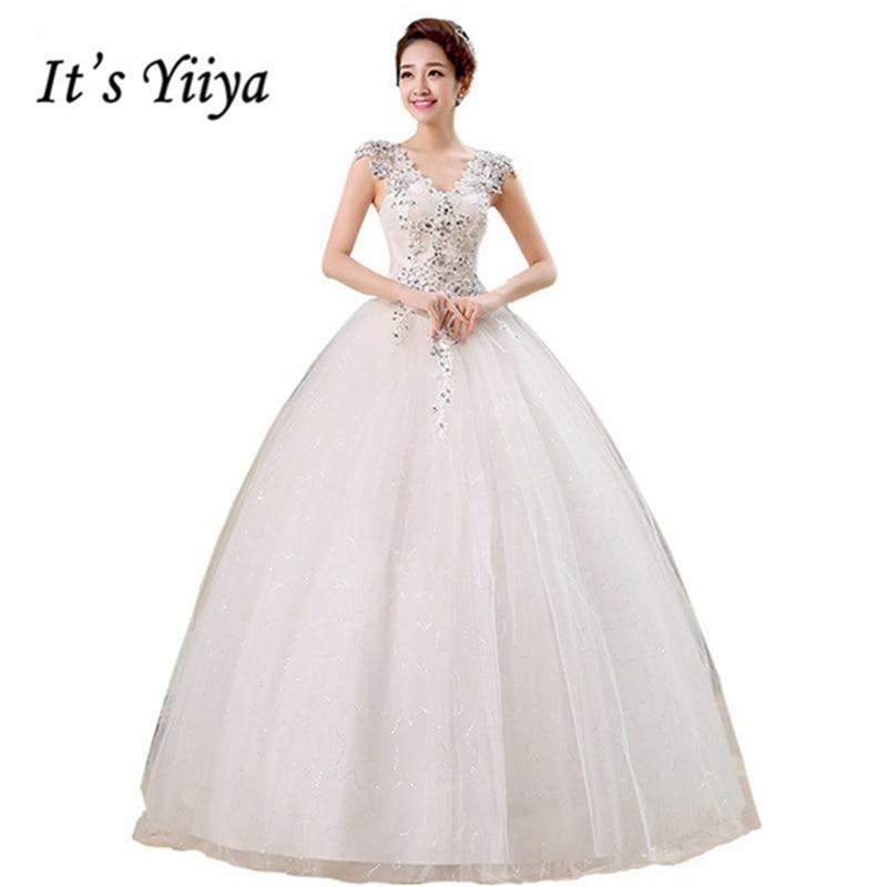 It\'s Yiiya V neck Sequins Sleeveless Wedding Dresses Simple Cheap ...