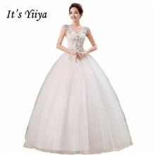 It's Yiiya V-neck Sequins Sleeveless Wedding Dresses Simple Cheap White Floor Length Bride Princess Gown Vestidos De Novia HS141