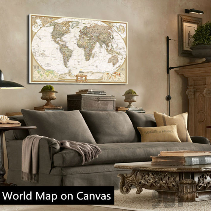 Modern wall art vintage english world map painting on canvas canvas modern wall art vintage english world map painting on canvas canvas prints painting pictures decor for living room t720 in painting calligraphy from home gumiabroncs Gallery