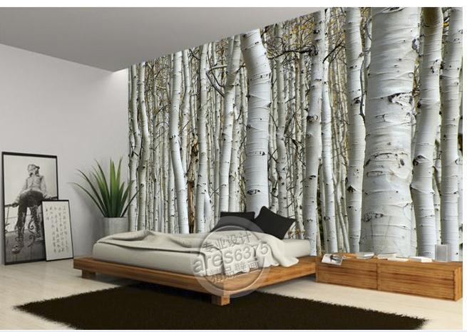 Wall sticker wallpaper white birch trees wallpaper mural for Mural 3d wallpaper