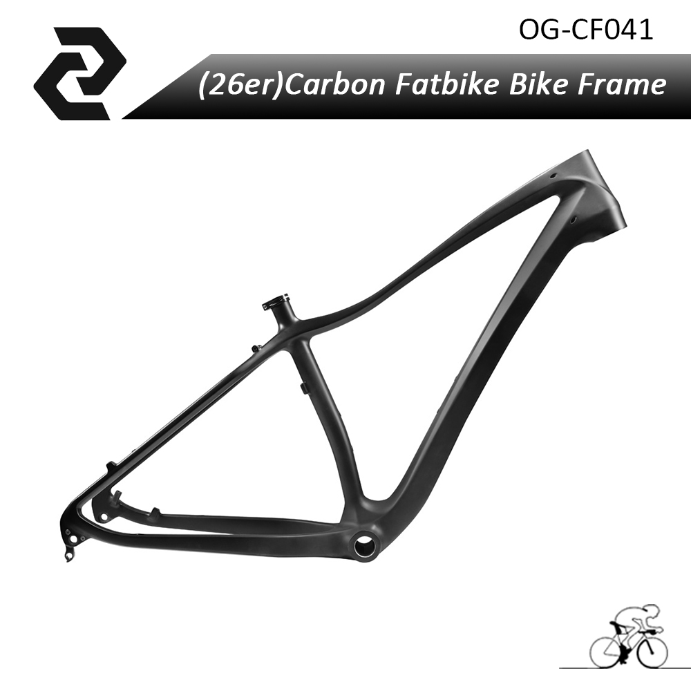 ORGE Full Carbon Fat Bike Frame 26er, Carbon Snow Bicycle Frame, 26er Rear Spacing 197 mm Fatbike Frame Fork 17.5 inch