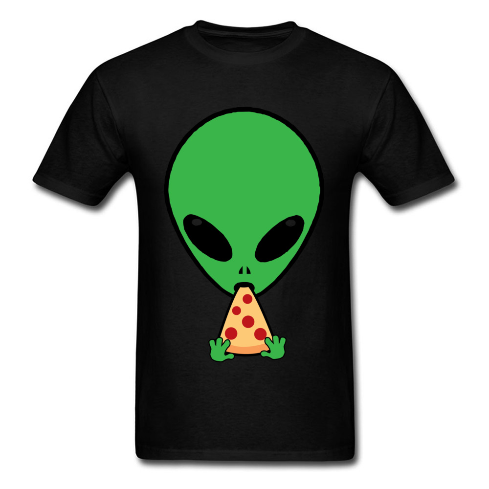 Aliens Love Pizza T Shirts Men Tshirt Funny Summer T-shirt Black Clothes Cotton Cartoon Tops Leisure Tee-Shirts Thanksgiving Day