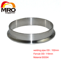 High Quality 4 102mm OD Sanitary Weld On 119mm Ferrule Tri Clamp Stainless Steel Welding Pipe