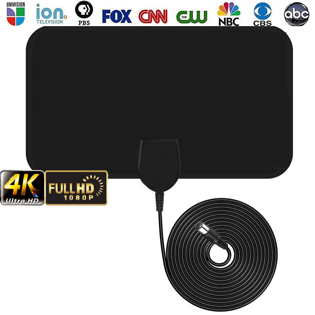 Universal Digital HDTV TV Antenna 50-Mile Receiving Range Amplified HD Digital Indoor Smart TV Antenna RG174 TV Signal Receiving Cable Vertical//Linear