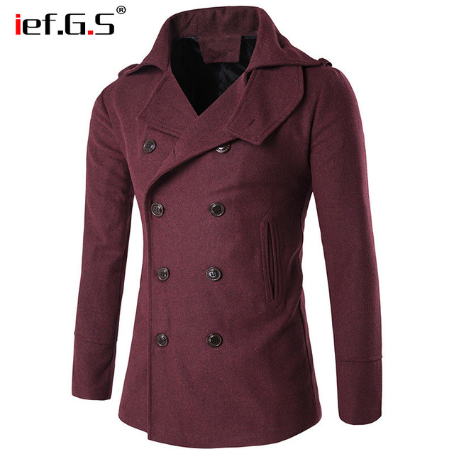IEF.G.S Trend men's clothing south korea Windbreaker overcoat long trench coat homme Double-breasted slim fit casaco masculino