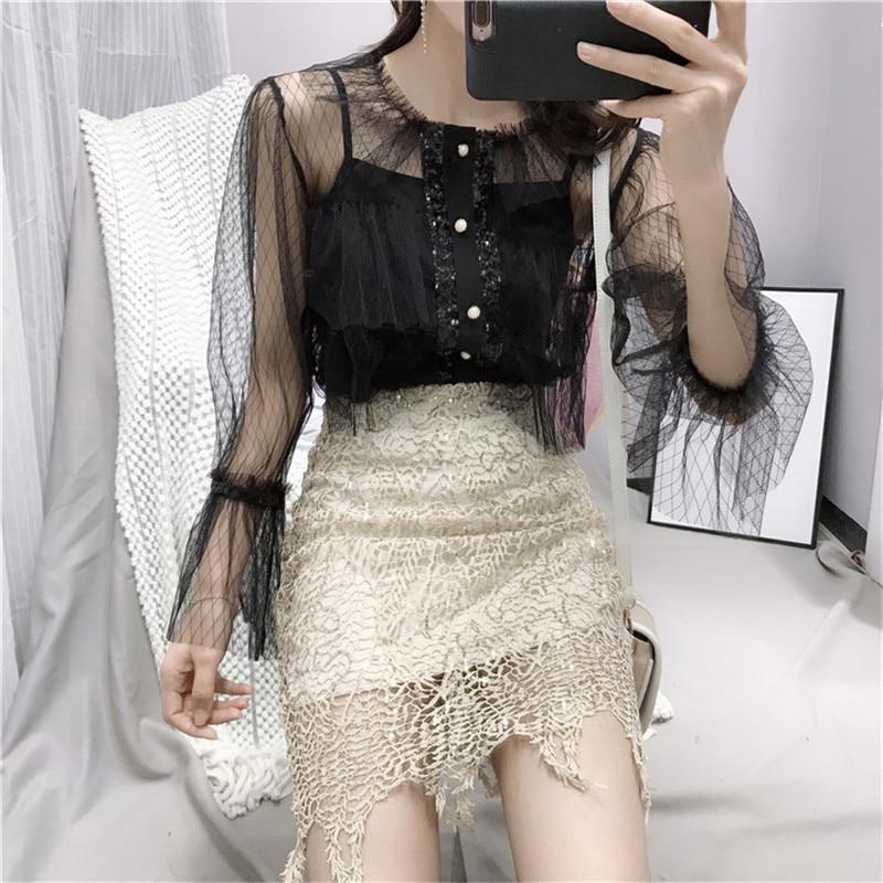 Fashion Women Mesh Shirts 2019 Spring Summer Lolita Style Ruffled Sheer Long Petal Sleeved Fairy Blouse Sexy Black Tops Blusas