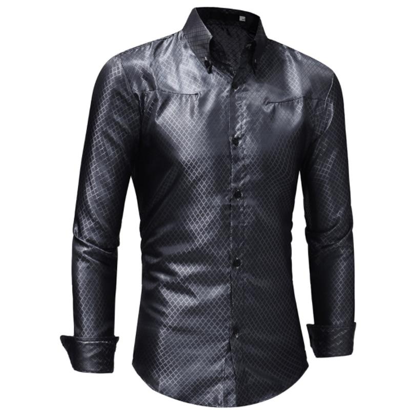 2018 Mode Männlichen Hemd Persönlichkeit Lange-Ärmeln Tops Heißer Stanzen Lattice Mens Kleid Shirts Dünnen Männer Shirt Xxl Vertrieb Von QualitäTssicherung