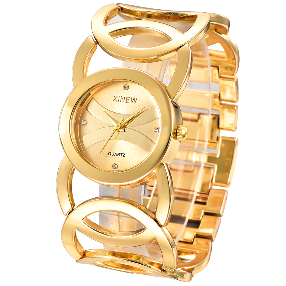 Brand XINEW Gold Plated Women Watches Circles Bracelet Rhinestone Quartz Watch Stainless Steel Relogios Femininos De Pulso Marca