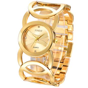 Marka XINEW pozłacane kobiety zegarki koła bransoletka Rhinestone zegarek kwarcowy ze stali nierdzewnej Relogios Femininos de Pulso Marca tanie i dobre opinie QUARTZ Składane zapięcie z bezpieczeństwem CN (pochodzenie) ALLOY Nie wodoodporne Moda casual 30mm ROUND Brak Szkło