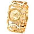 Marke XINEW Gold Überzogene Frauen Uhren Kreise Armband Strass Quarz Uhr Edelstahl Relogios Femininos de Pulso Marca-in Damenuhren aus Uhren bei