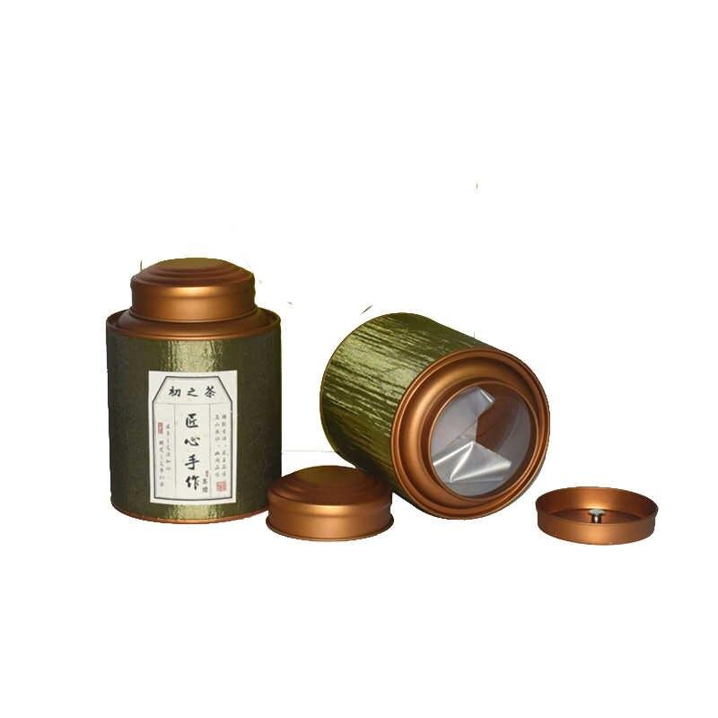 Shandong Xin Jia Yi Kotak Kemasan Pita Sutra Permukaan Kuat Tabung Kertas Besar Teh Hijau Bisa dengan Double Golden Tutup wholease Kaleng