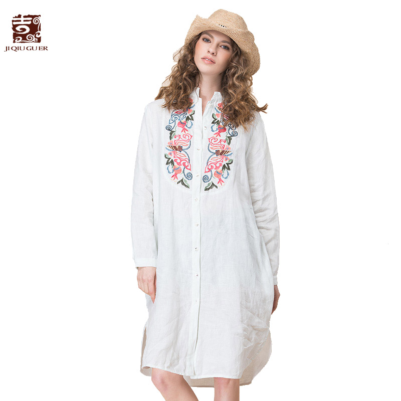 Jiqiuguer 2017 Women Floral Embroidery Linen Shirts Plus Size White Loose Long Casual Tops Female Summer Blouses G171Y014