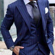 Azul Marino a rayas trajes de hombres clásico Formal fiesta de negocios  inteligente Blazer de traje 3 piezas esmoquin de novio t. 369d8205d19