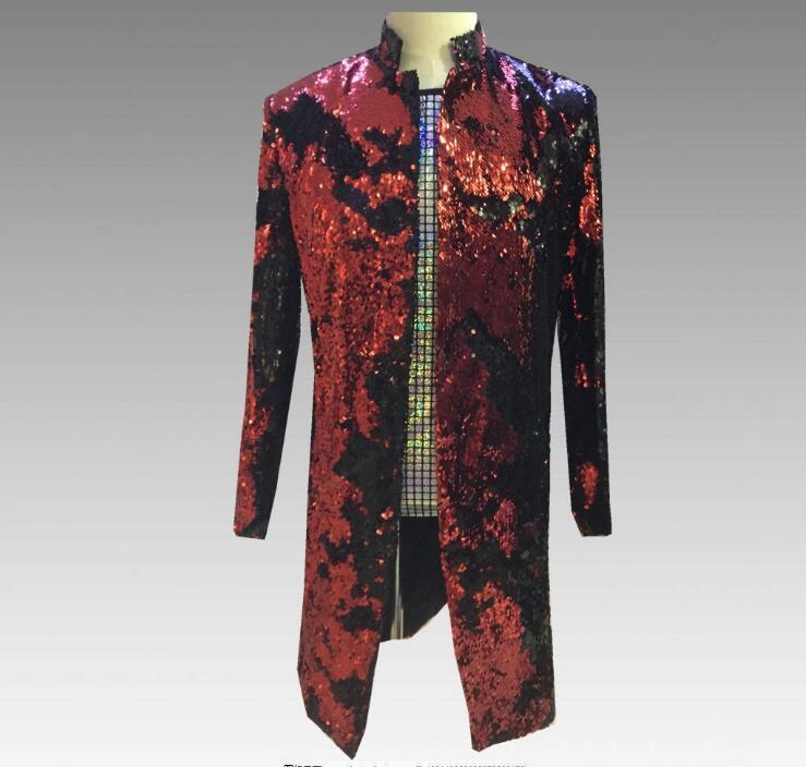 Tide Men long Double-Color Purple Black Gold White Sequins Blazer Fashion Punk Nightclub Bar DJ Singers Suit Jacket Costumes