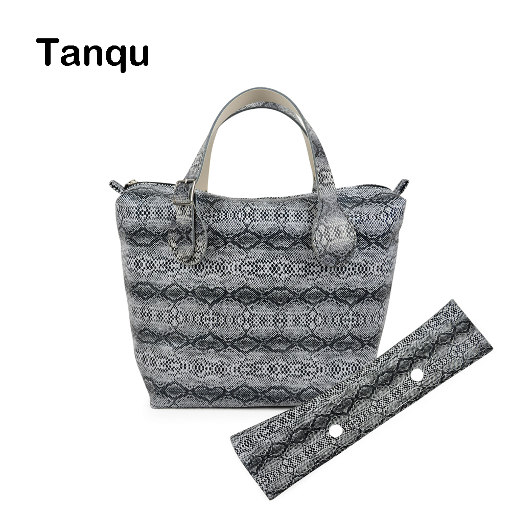 TANQU Waterproof Snake Skin Grain PU Insert Inner Pocket Plus Trim Adjustable Handles for Classic Mini Obag O Bag Women Handbags tanqu trim pu faux leahter decoration for obag handbag classic mini wood grain pattern trim for o bag body for summer autumn