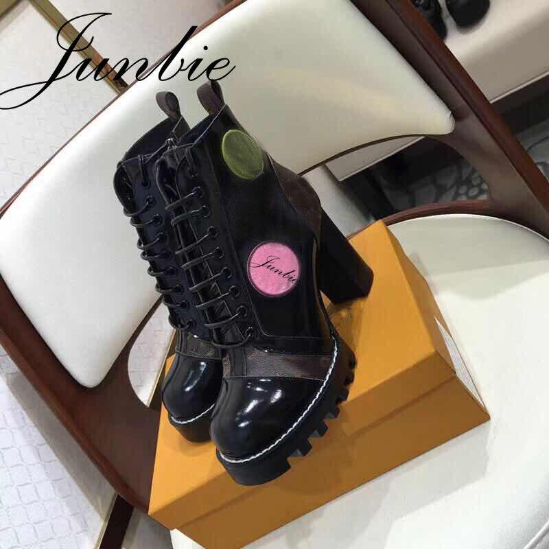 JUNBIE Qualité Noir Patchwork Gladiateur Lacent Femmes Bottes Bout Rond Plate-Forme Chunky Talon Femmes Cheville Bottes Chaussures Femmes