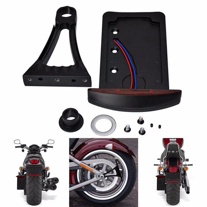 Support de plaque d'immatriculation de feu arrière LED à montage latéral noir pour Harley vélos métriques Sportster Bobber Chopper avec essieu arrière de 1