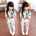 Promotion Coat Geometric Children Clothing 2016 New Girls Clothes Kids Girl's Sports Cartoon Suit T069